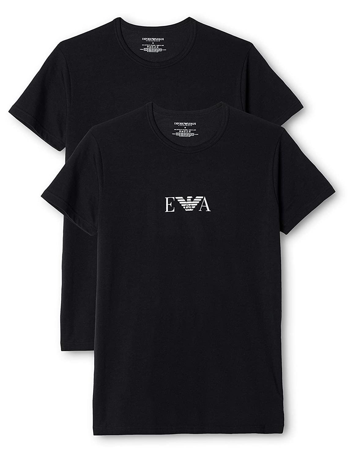024ffa1a6a Emporio Armani Stretch BI-Pack Crew Neck T-shirt, Black/White