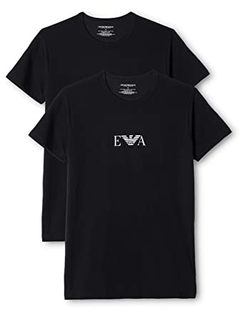 f5d34a8d Emporio Armani Stretch BI-Pack Crew Neck T-shirt, Black/White: Armani:  Amazon.co.uk: Clothing