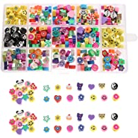 YEYULIN 300Pcs Flower Smiley Handmade Polymer Clay Beads 15 Styles Letter Animal Fruit Theme Loose Spacer Beads Soft…