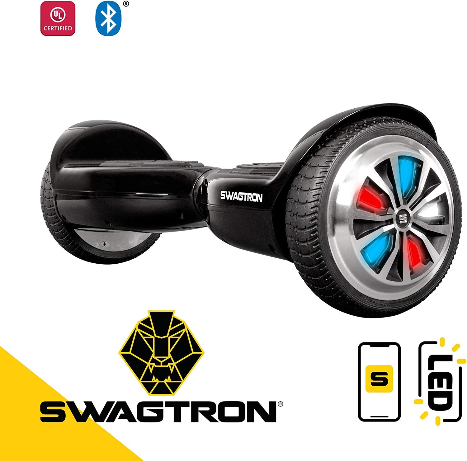 Swagtron Swagboard Hoverboard for Kids and Young Adults Black LED / US