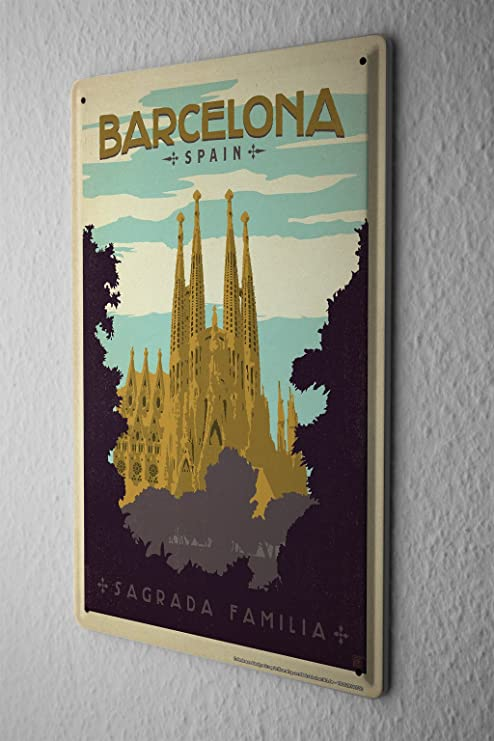 Amazon.com: Tin Sign Deco Ciudad España Barcelona Sagrada ...
