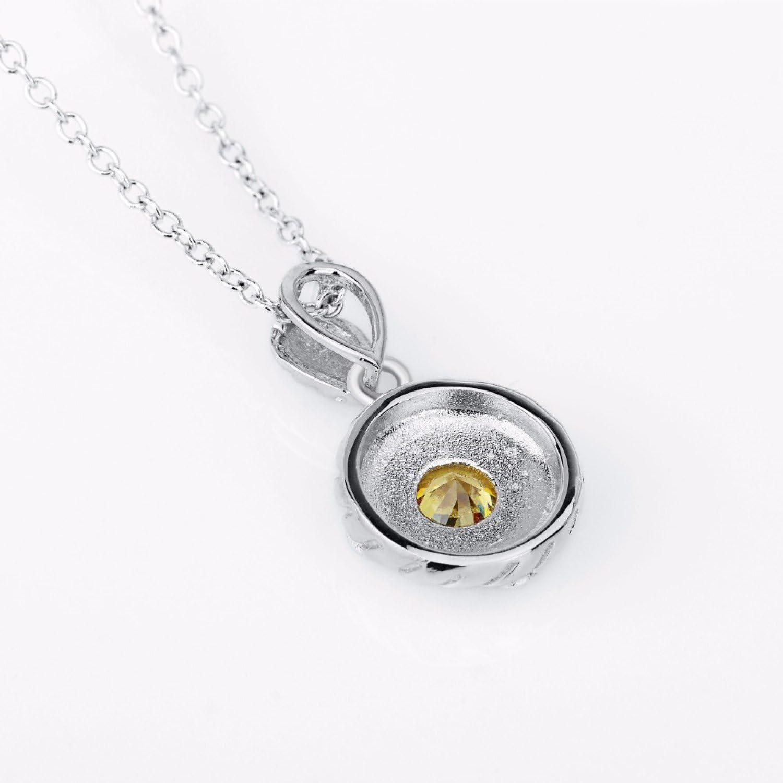 CS-DB Jewelry Ladies White Gold Color Round Top Stylish Silver Pendant Yellow Cubic Zircon