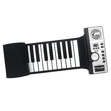 Yoome Portátil 61 Teclas Roll Up Soft Flexible Recargable Electrónica Música Teclado Piano Incorporado Altavoz para Niños Principiante: Amazon.es: ...