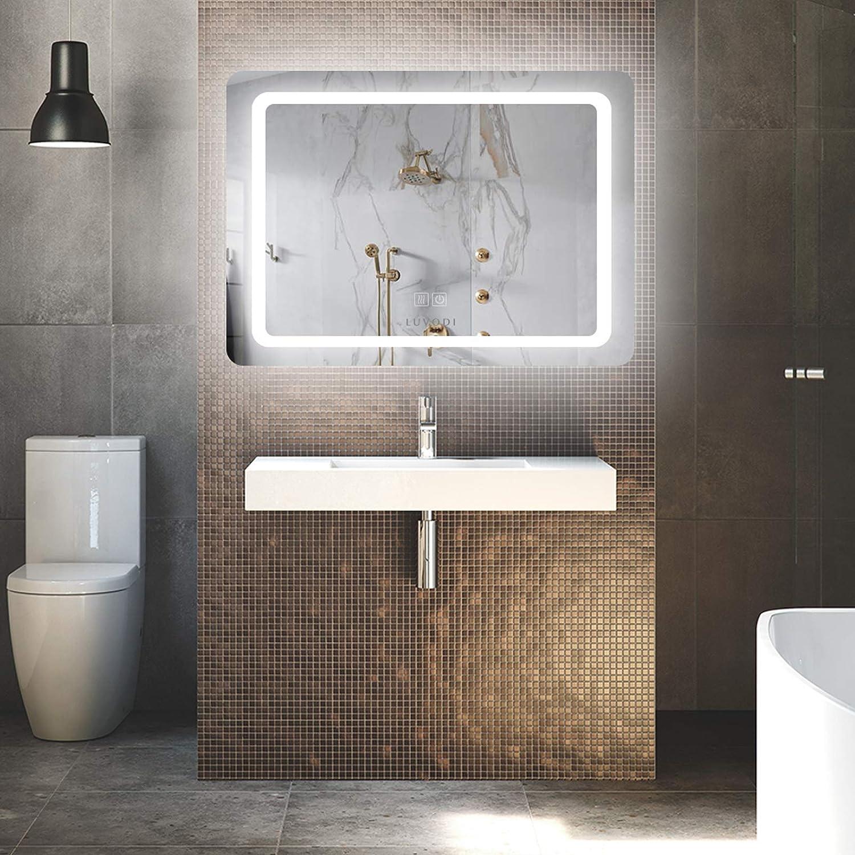 LUVODI LED Lighted Bathroom Wall Mount Mirror