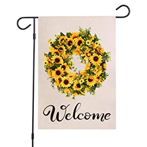 Sunflower Wreath Welcome Garden Flag - Vertical Double Sided,Burlap Spring Summer Fall Rustic Farmhouse Outdoor Welcome Garden Decor,Garden Flag 12 x 18 Inches(Sunflower)