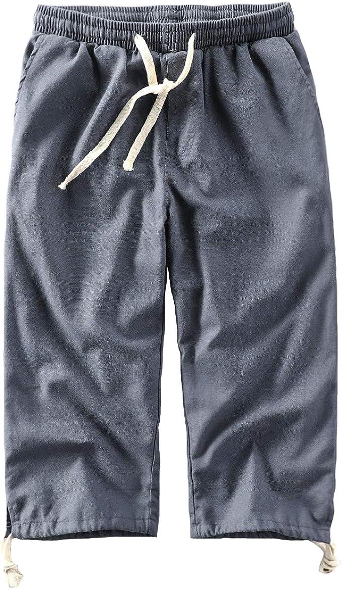 Pantalones cortos de algodón de lino y algodón de HAORUN para hombre 3/4: Amazon.es: Ropa y accesorios