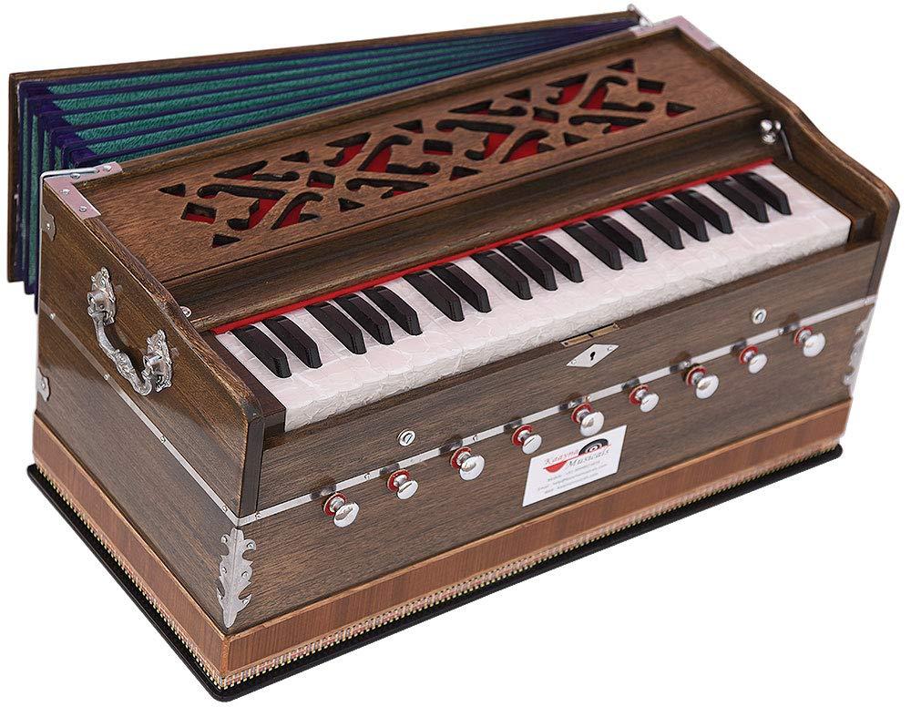Harmonium Pro Grade By Kaayna Musicals, 9 Stop- 5 Main & 4 Drone, 3½ Octaves, Rat Colour, Coupler, Gig Bag, Bass/Male- 440 Hz, Best for Yoga, Bhajan, Kirtan, Shruti, Mantra, Meditation, etc by Kaayna Musicals