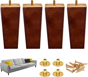 6 Inch Wood Sofa Leg Set, Pack of 4 Square Mid-Century Wood Furniture Feet Replacement Legs with Hardware Kit for Couch Cabinet Chair Coffee Table Dresser- Brown