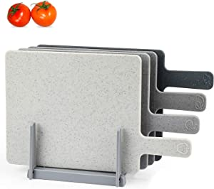 "Chopping Board Set for Kitchen Holder, Index Small Cutting Board Easy-Grip Handle BPA Free FDA Approved, Dishwasher Safe, Thick Cutting Boards Draining Rack & Food Icons for Kitchen, 9.45"" x 7.88"""