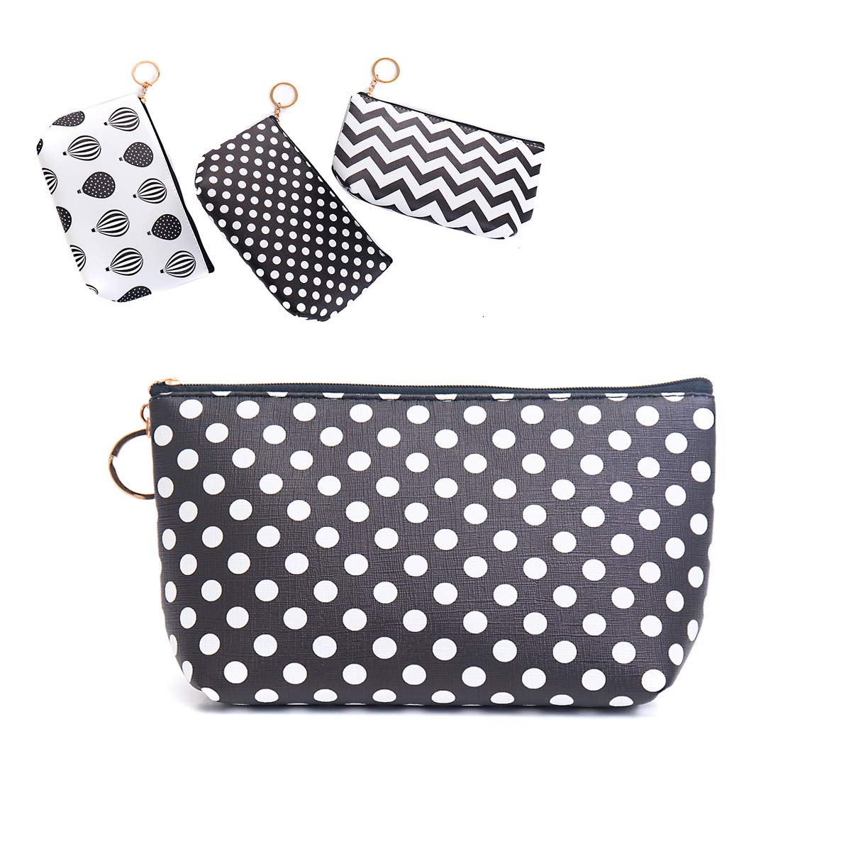 Small Cute Cosmetic Bag For Women Travel Accessories Bag Makeup Pouch Durable Waterproof Organizer Handbag With Zipper(Black/White Polka Dots)