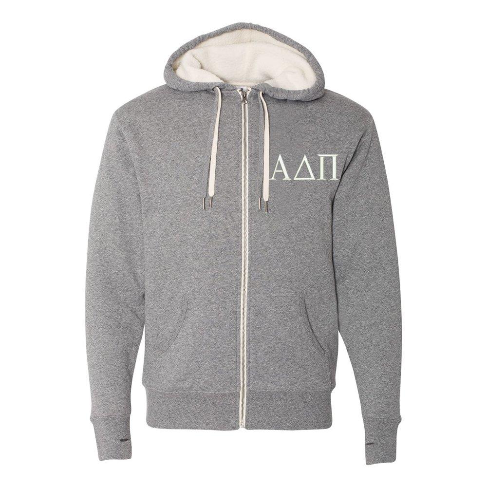 Alpha Delta Pi Sherpa Lined Full Zip Hooded Sweatshirt