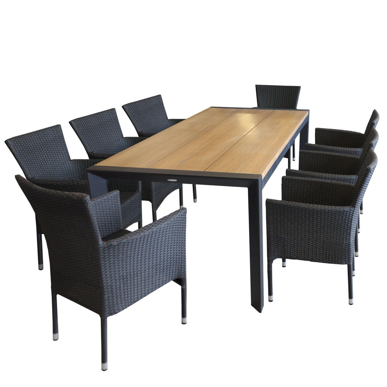 Edle Sitzgarnitur Gartenmöbel-Set Aluminium Gartentisch mit eleganter Polywoodtischplatte in Teakfarben 205x90cm + 8x Rattansessel, Polyrattan Schwarz, stapelbar