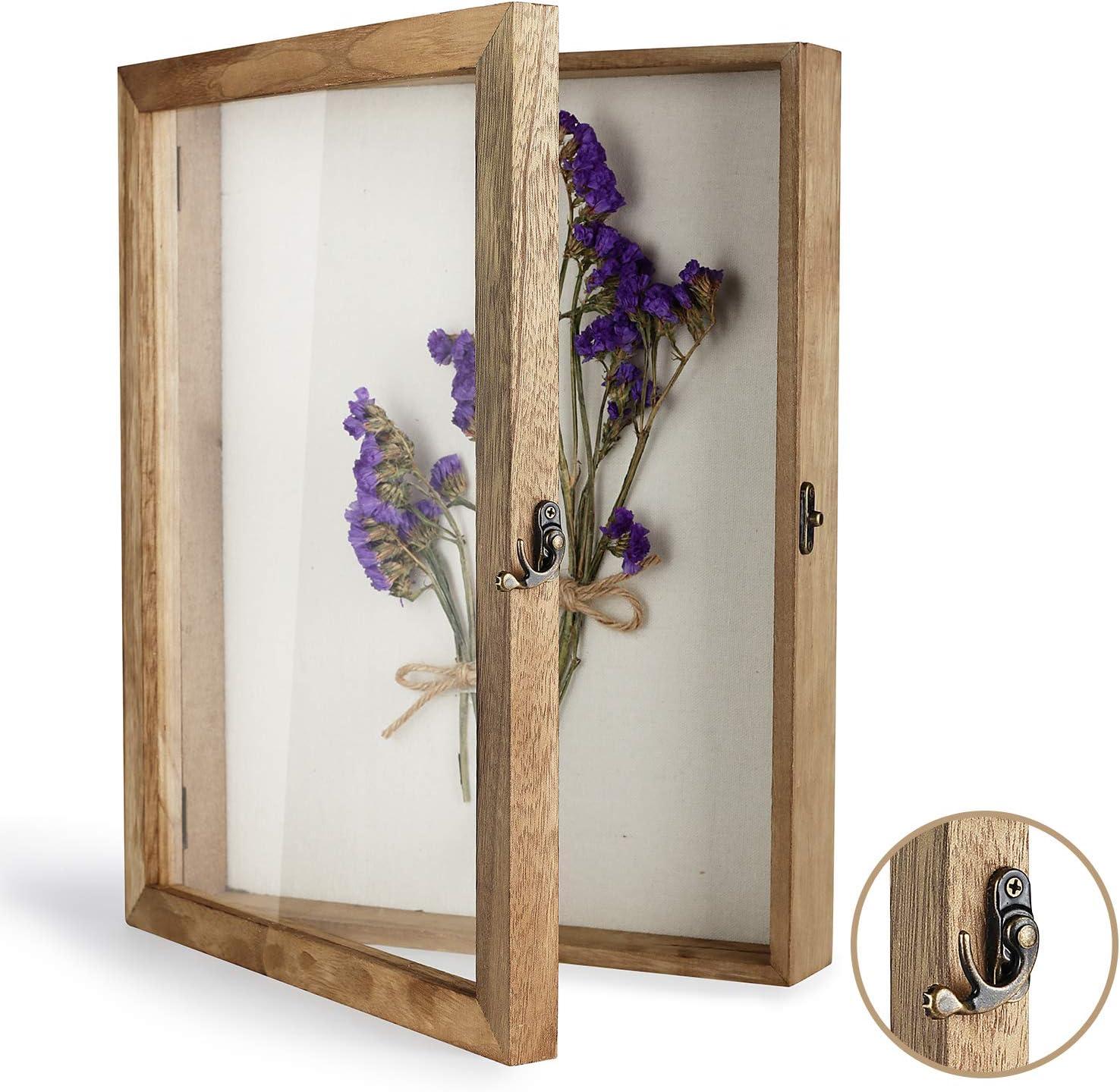 "TJ.MOREE Shadow Box Display Case 11"" x 14"" Shadowbox Frame with Linen Back Memorabilia Bouquet Medals Photos Memory Box for Keepsakes"