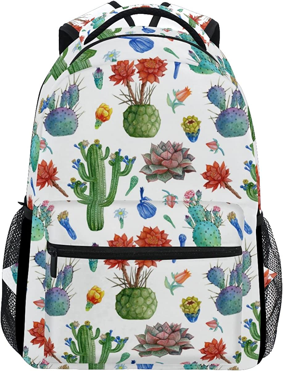Casual Durable Backpack Daypacks for Men Women for Work Office College Students Business Travel Schoolbag Bookbag Cute Summer Theme Pattern with Cacti Travel Laptop Backpack