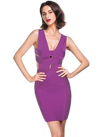 6ef7109923b Alice   Elmer Women s Rayon Sleeveless Bodycon Deep V Neck Cut Out Midi  Bandage Club Party Dress