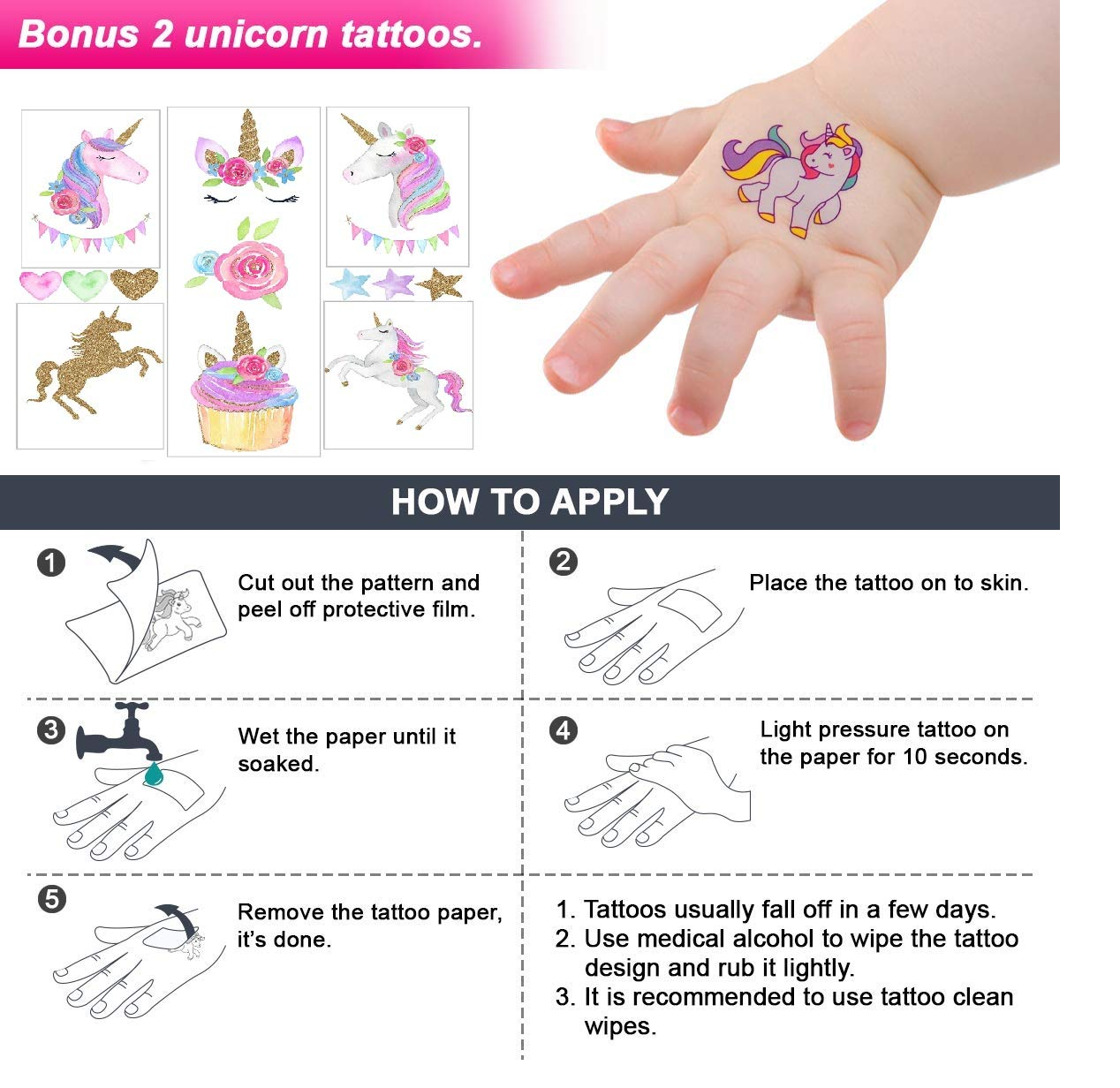 Klmars AB-112 Unicorn Theme Party Favor for Kids-96Pcs Tatoo-24Pcs Stamper-27 Pcs Rings Necklace Keychain-Birthday Party Supplies, Colorful 5