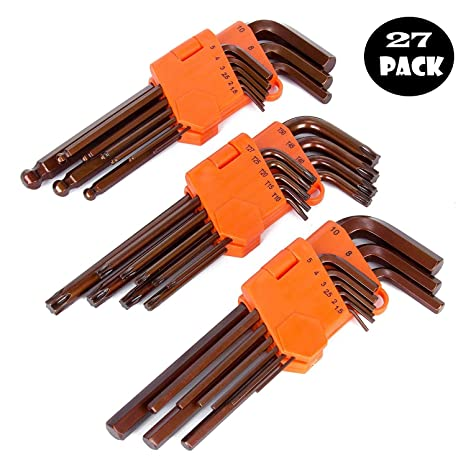 Amazon.com: K Kwokker 27Pcs Allen Wrench Set Metric Ball End ...