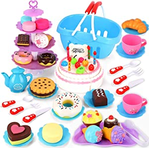 Baobë Kids Tea Set Pretend Play Food Set, DIY 80 PCS Cutting Birthday Cake Ice Cream and Donuts Food Toys-Educational Play Kitchen Set Toy for 3 4 5 6 Years Old Kids, Boys and Girls