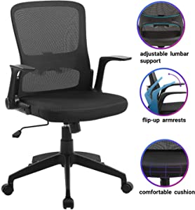 Office Chair Ergonomic Desk Chair Mid Back Swivel Mesh Computer Chair Adjustable Stool Rolling Home Office Chair with Flip up Arms Adjustable Lumbar Support 300lbs
