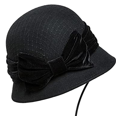 c0c0ee5f7385f3 Winter Wool Hat for Women Fedora Vintage 100% Felt Hats with Handmade Bow  Ladies Cloche