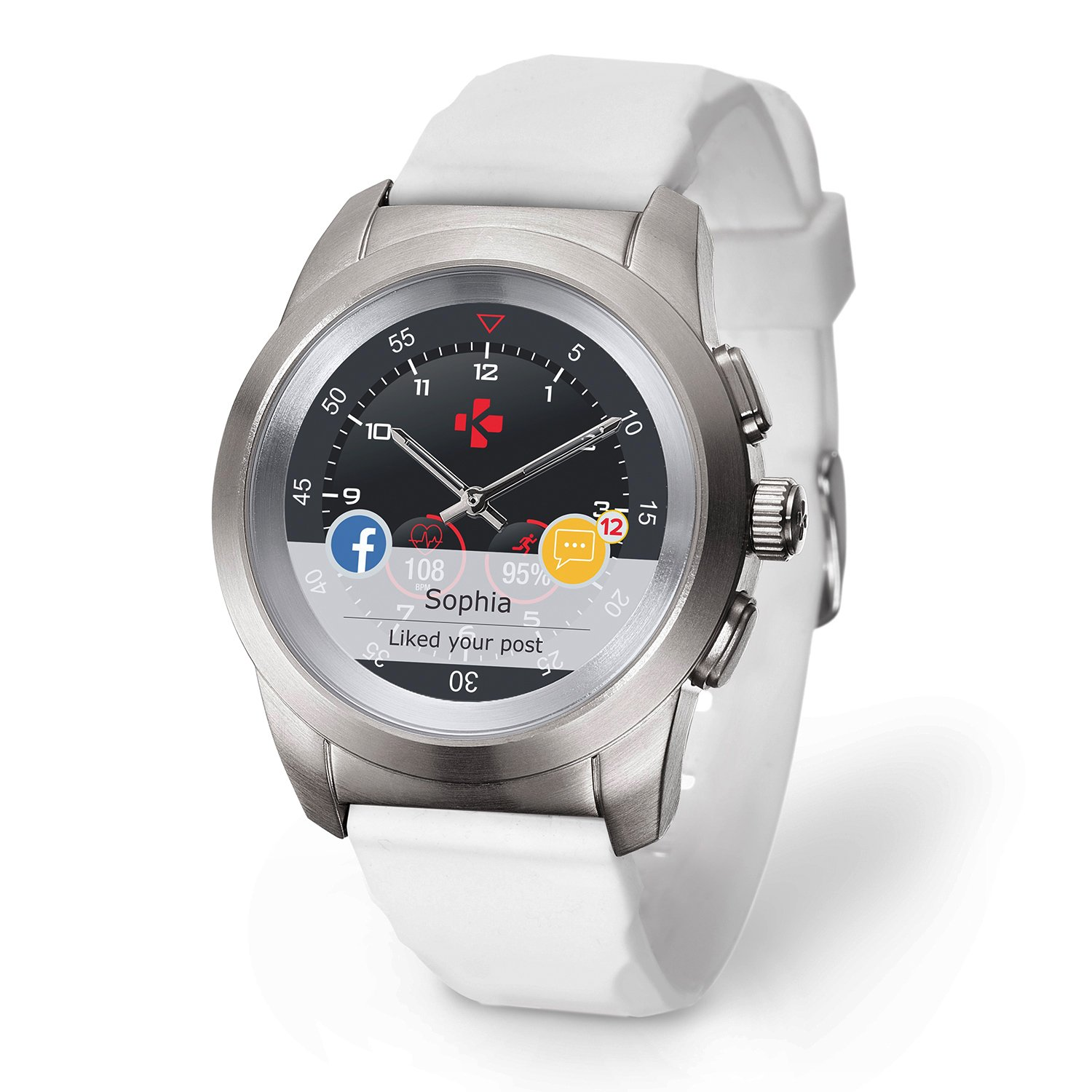 MyKronoz ZeTime Petite Original Hybrid Smartwatch 39mm with mechanical hands over a color touch screen – Brushed Silver / White Silicon Flat