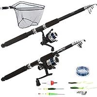 Physionics - Kit de pêche : 2 cannes à pêche, 2 moulinets, hameçons, flotteurs, leurre et autres accessoires