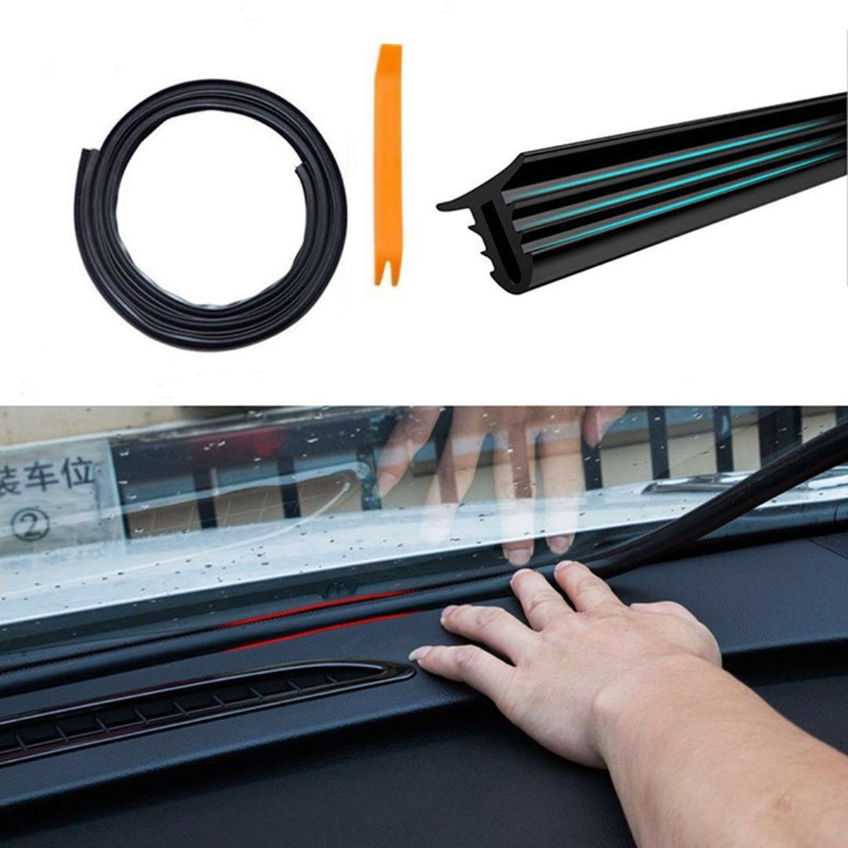 HENGJIA Auto Parts 1.6M Edge Trim Rubber Dust and Noise Seal Protector Guard Strip for The Space Between Dashboard and Windshield of Cars