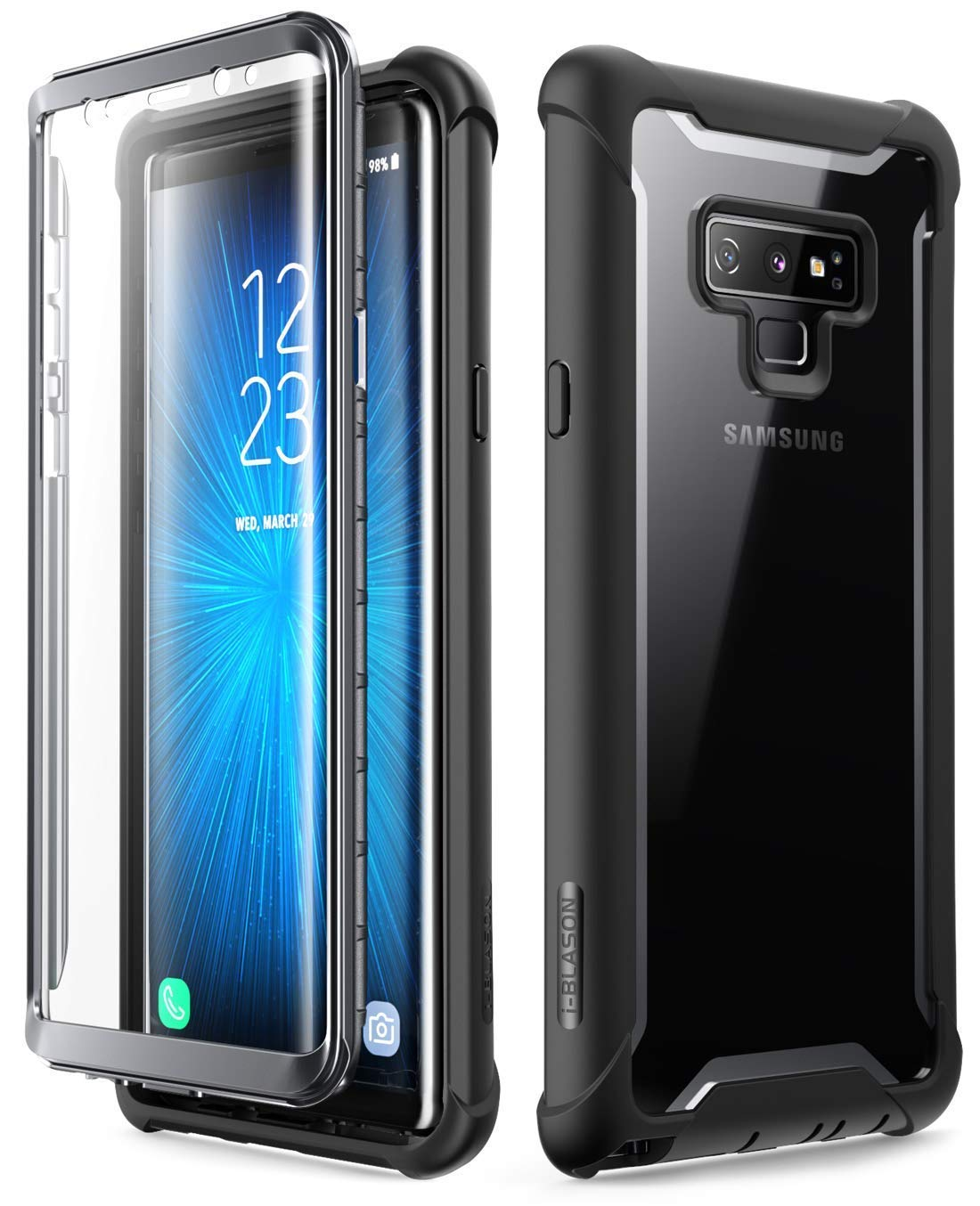 i-Blason Samsung Galaxy Note 9 Case, [Ares Series] Full-Body Rugged Clear Bumper Case with Built-in Screen Protector for Samsung Galaxy Note 9 2018 Release (Black)