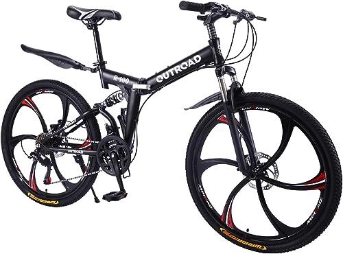 Max4out Mountain Bike Folding Bikes, Featuring 6 Spoke 21 Speed Shining SYS Double Disc Brake Fork Rear Suspension Anti-Slip, Yellow Black