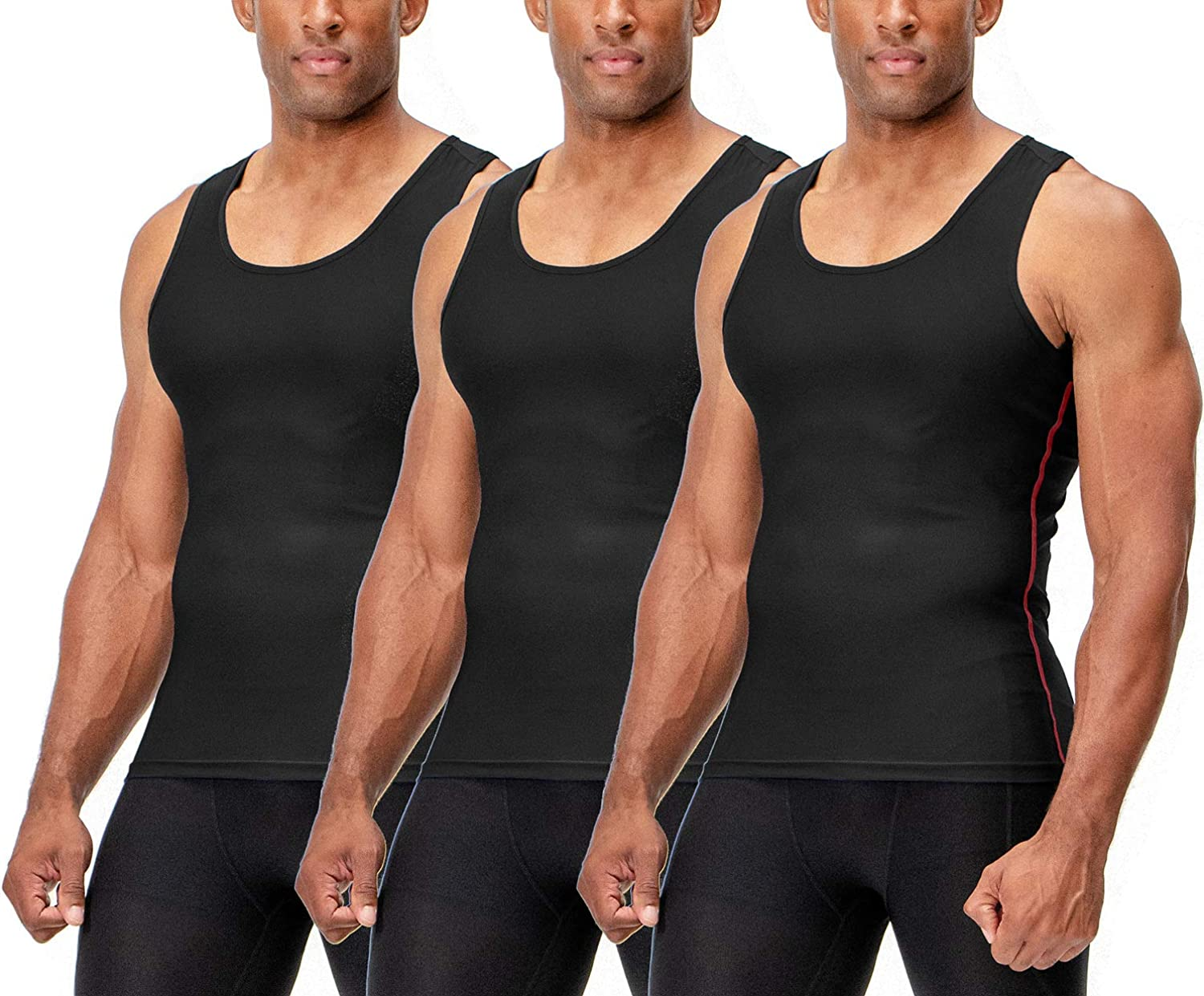 DEVOPS Mens 3 Pack Sleeveless Athletic Cool Dry Compression Muscle Tank Top