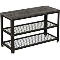 VASAGLE Shoe Bench, 3-Tier Shoe Rack, Storage Shelves with Seat, for Entryway, Living Room, Hallway, Accent Furniture, Steel Frame, Industrial Design, Charcoal Gray and Black ULBS073B04