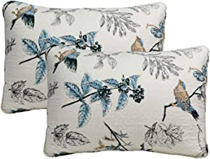 Brandream 100% Cotton Quilted Pillow Shams 2-Piece Standard Size American Country Birds Printing Pillow Shams Bedroom Decor