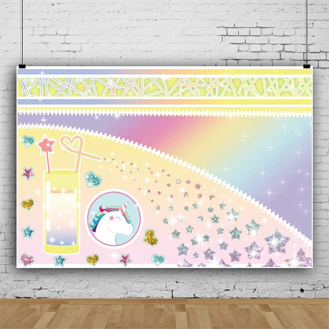 DORCEV 10x8ft Unicorn Theme Backdrop for Children Birthday Party Baby Shower Photography Backdrop Shiny Glittle Stars Smile Unicorn Baby Juice Cup Love Heart Party Banner Newborn Photo Studio Props