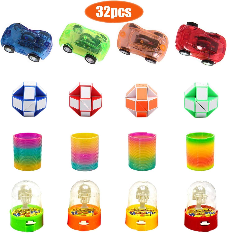 Smatoy 32 Piezas Mini Baloncesto de Mesa Juego de Disparos, Rainbow Springs, Autos de Devolución, Mini Speed Cubes, Juguetes para Niños de Fiesta (Color Aleatorio) (Inteligencia Juguetes)