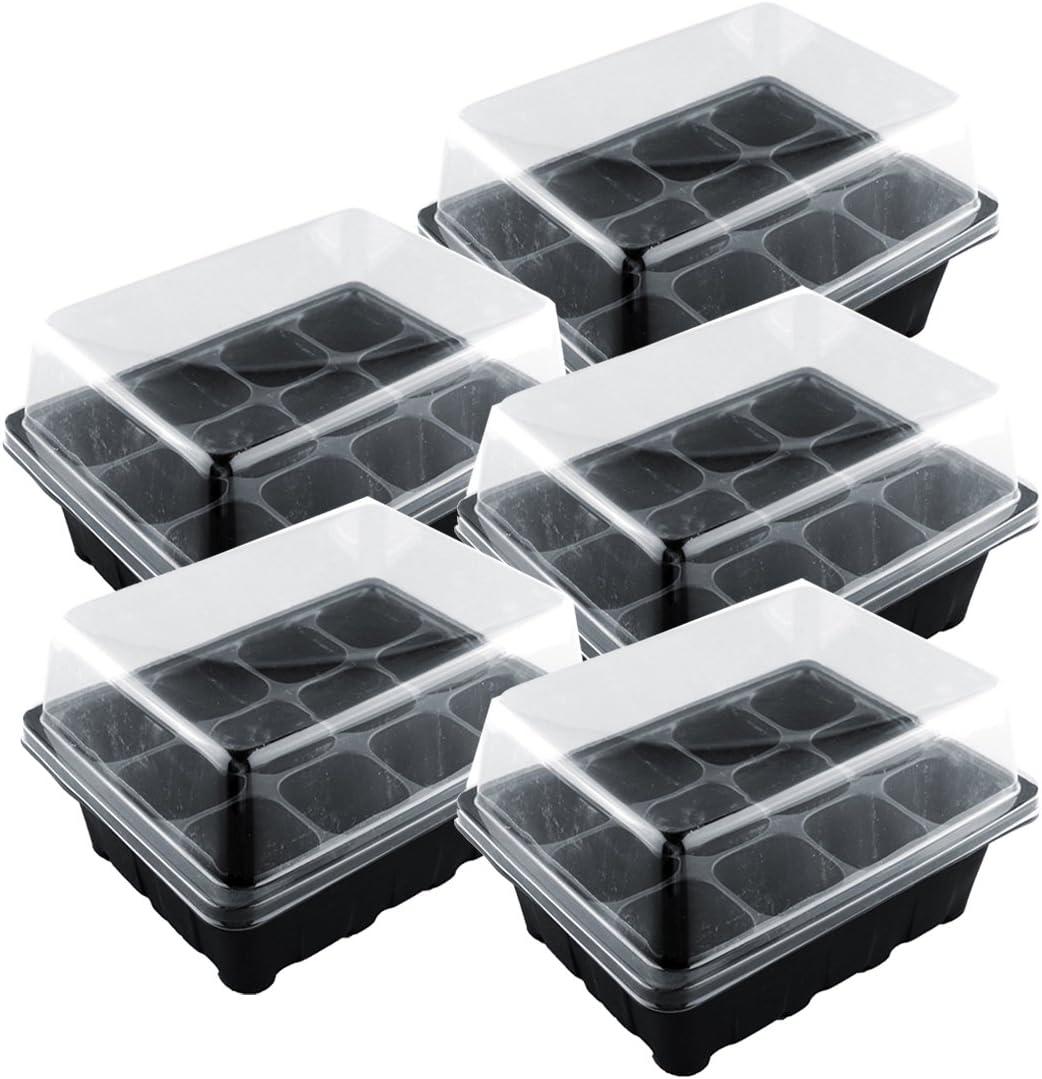 YAKOK Bandejas de Semilleros, 5 Piezas 12-Celda Semillero con Tapa Propagador Bandeja Germinador de Semillas Bandeja de Germinacion para Semillas (Negro)