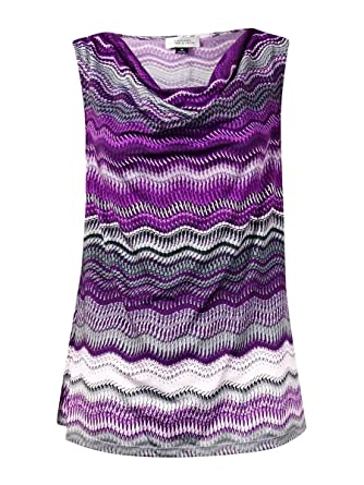Tahari Women s Sleeveless Draped Neckline Jersey Blouse (L