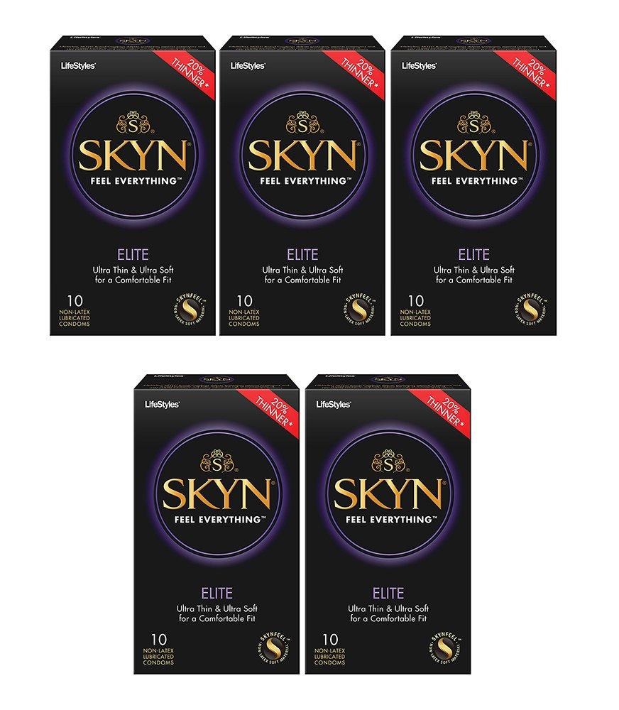 LifeStyles SKYN Elite Condoms, 5 Boxes (10 Condoms)