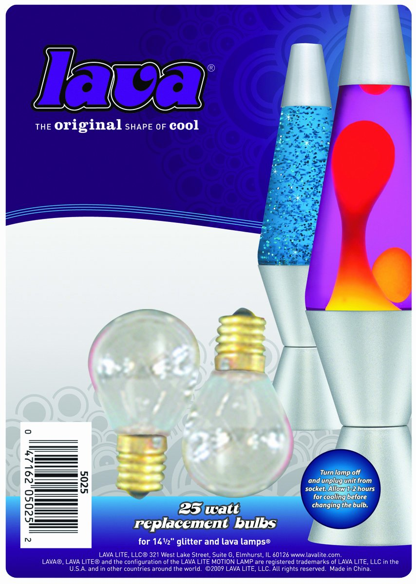 Lava lamp wattage - Lava Lite 5025 6 25 Watt Replacement Bulbs For 14 5 Inch Lava Lamps 2 Pack Incandescent Bulbs Amazon Com