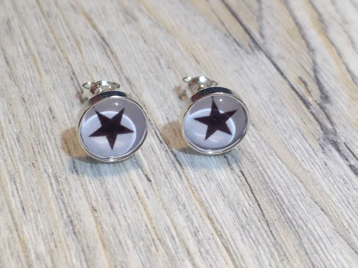 Stern schwarz 925 Sterling Silber 8mm Ohrringe Ohrstecker