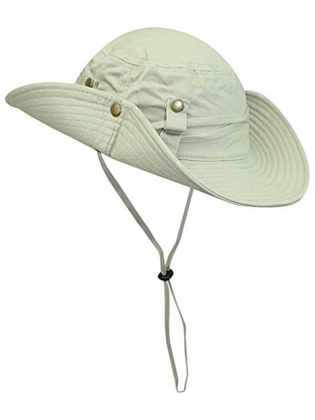 e8e5bba35de46 Beige Safari Style Cotton Hat With Chin Cord   Side Snaps at Amazon ...