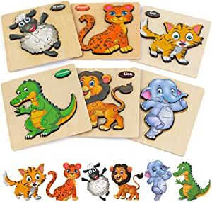 Wooden Toddler Puzzles Gifts Toys, 6PCS Toddler Puzzles Wooden Puzzles Pegged Puzzles, for Boys Girls Learning Animals Educational Games