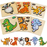 Wooden Toddler Puzzles Gifts Toys, 6PCS Toddler Puzzles Wooden Puzzles Pegged Puzzles, for Boys Girls Learning Animals Educat