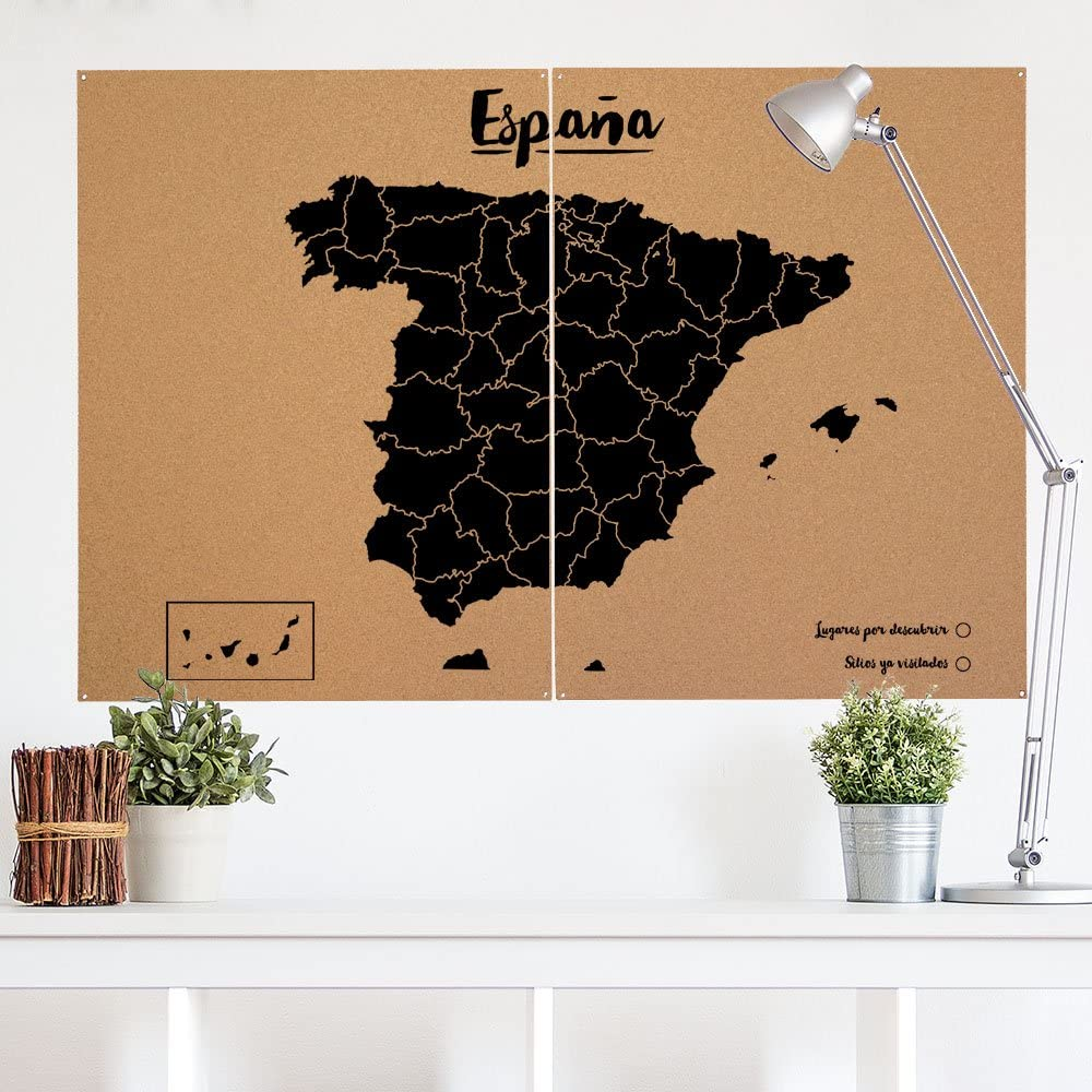 Miss Wood Mapa de España de Corcho, Pino, Negro, XL-60x90cm ...