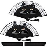 Hand Held Folding Fan Cat Folding Fan Cartoon Cute Cat Silk Fan Women Party Cat Fan with Store Bag for Wedding Dancing…