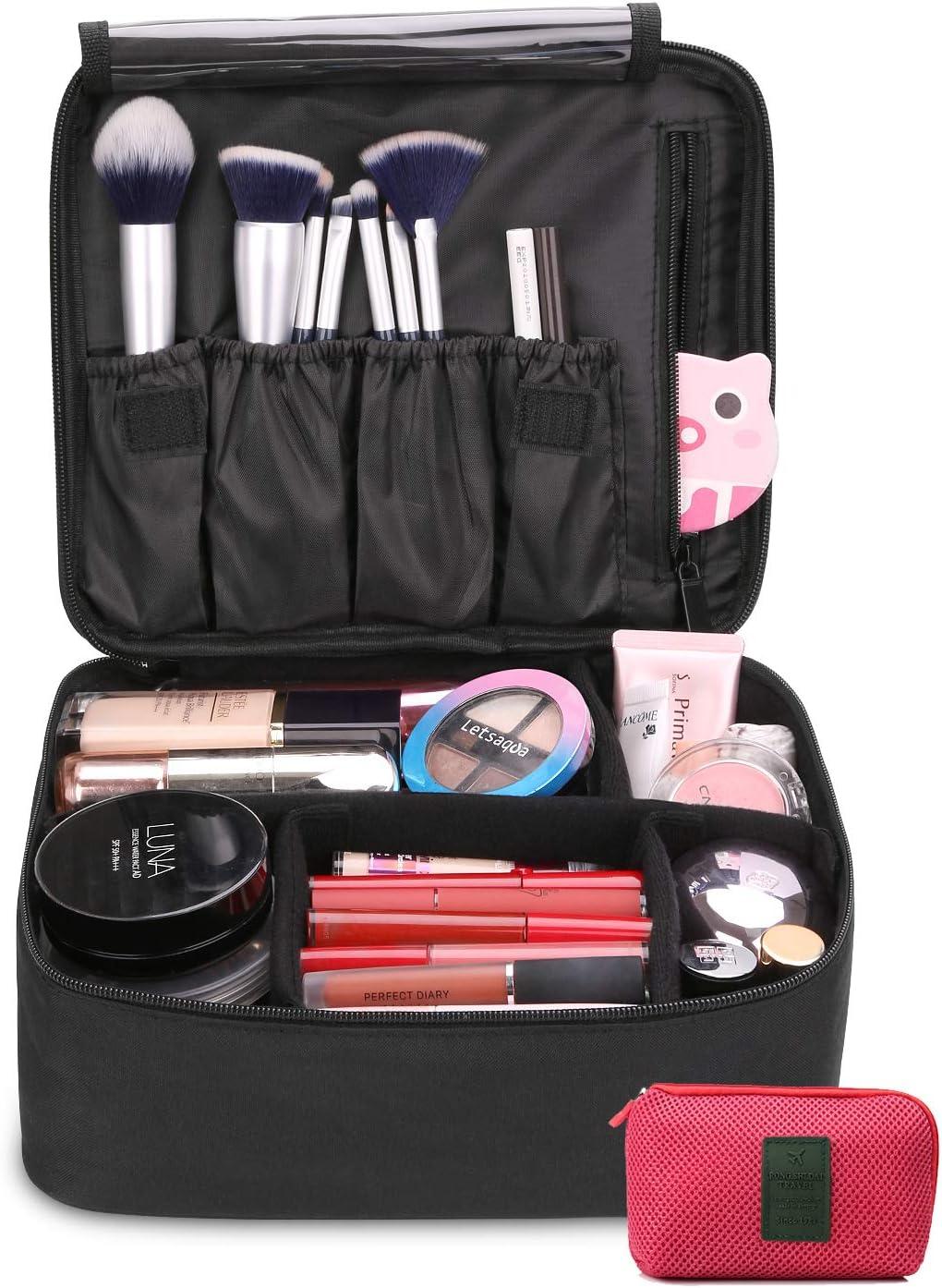 DIMJ Neceser Maquillaje Portátil, Bolsa de Maquillaje Ligera con Divisores Bolsillos Profesional Organizador de Maquillaje Bolso de Cosméticos de Viaje con Bolsa de Cable USB