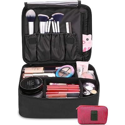 DIMJ Neceser Maquillaje Portátil, Bolsa de Maquillaje Ligera con Divisores Bolsillos Profesional Organizador de Maquillaje Bolso de Cosméticos de Viaje con Bolsa de Cable USB (Negro)