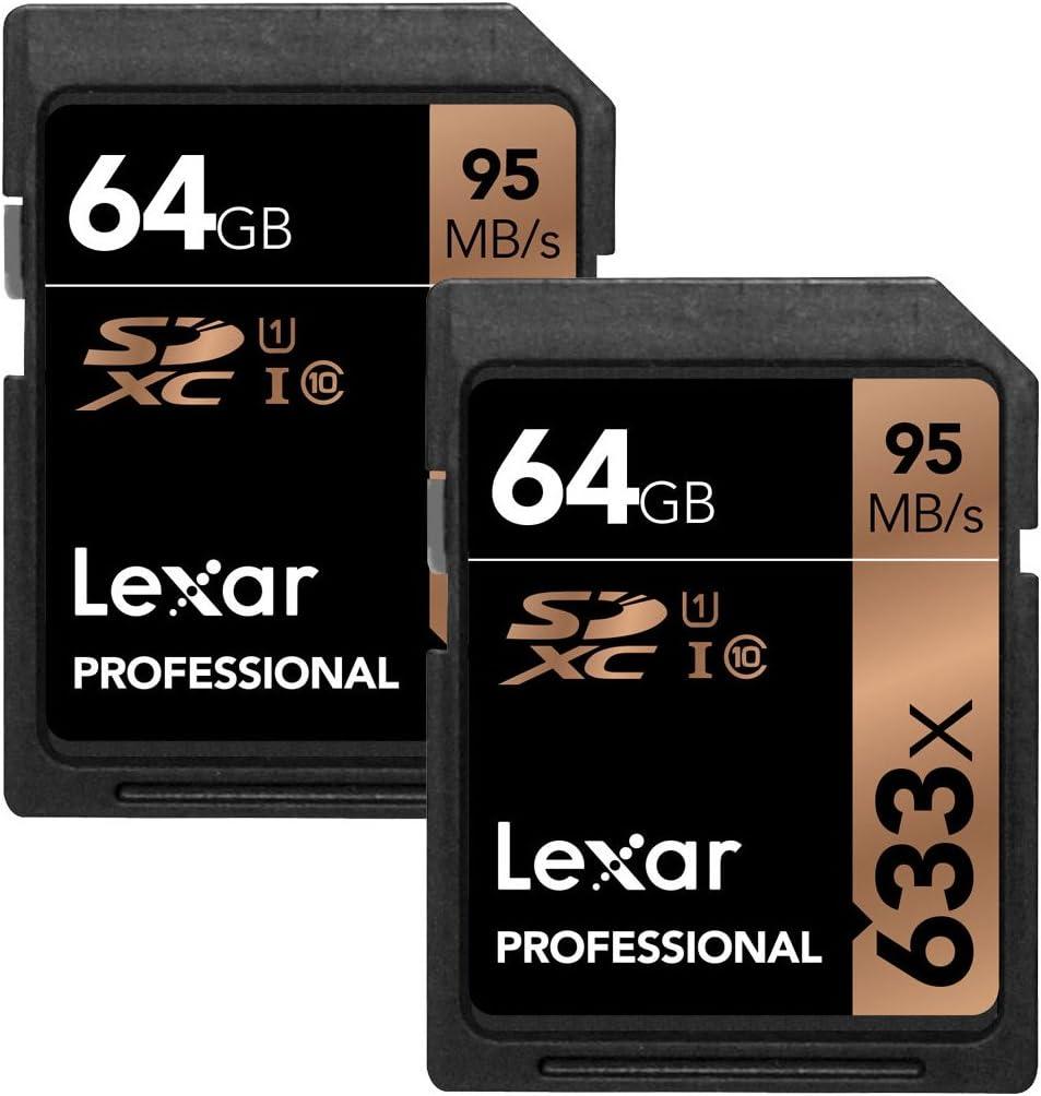 Lexar 64GB Professional 633x SDXC Class 10 UHS-I/U1 Memory Card 2-Pack Bundle