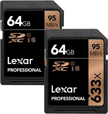 Lexar 64GB Professional 633x SDXC Class 10 UHS-I/U1 Memory Card 2-Pack Bundle