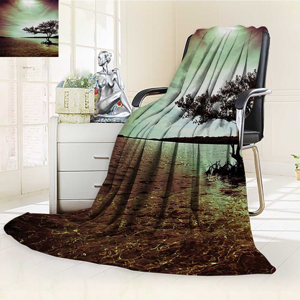 AmaPark Digital Printing Blanket Lonely Tree Scene College List One of a Kind Machine Washable Silky Satin Summer Quilt Comforter