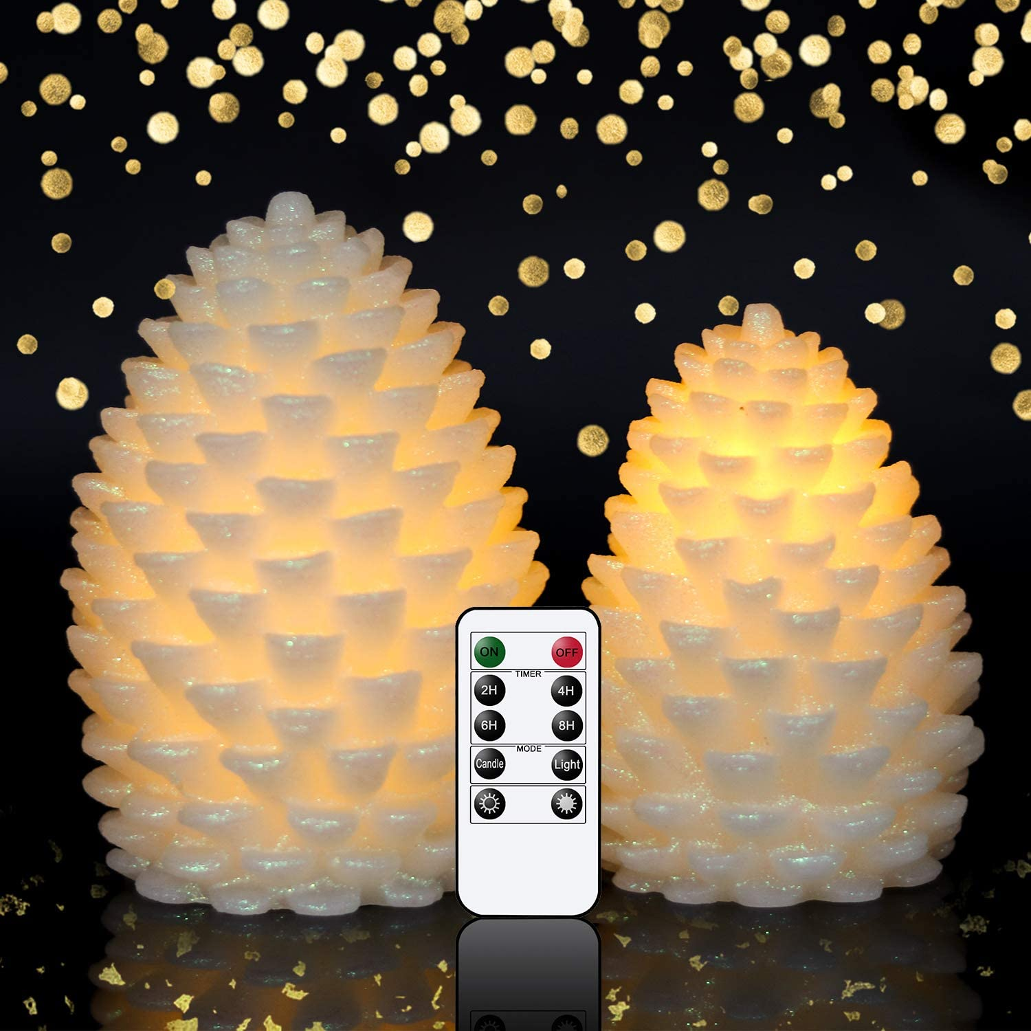 """Wondise Christmas Pine Cone Shaped Flameless Flickering Candles with Remote Timer, 2 Pack Battery Operated Real Wax LED Candles for Christmas Home Decoration Gift(Ivory, 4"""" x 6"""", 3.5"""" x 5"""")"""